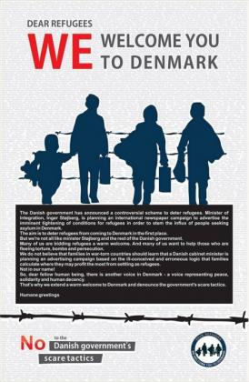 Advertisement welcoming refugees in Denmark appearing in the British daily The Guardian, August 10, 2015.