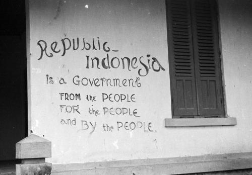 Inscription on a wall of Purkowerto (Java), July 24th 1948.