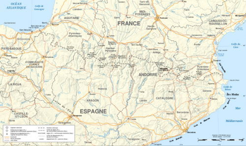 Situational map for the French-Spanish border. Source : Wikimedia Commons.