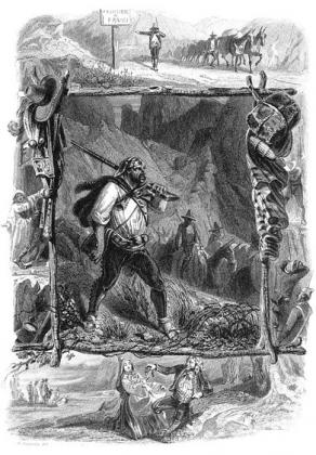 Octave Penguilly L'Haridon, The Smugglers, lithograph, circa 1850 (image taken from the journal Les feuilles du pin à crochets 7, p.  4).