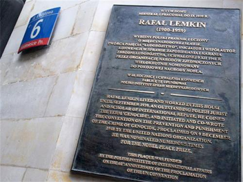 Commemorative plaque marking Raphael Lemkin's former residence at 7 Kredytwa Street in Warsaw (Poland), inaugurated in 2008 on the 60th anniversary of the UN's adoption of the Convention on the Prevention and Punishment of the Crime of Genocide.