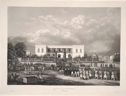 Palais du gouverneur à Pondichery (XIXe siècle), dans Cyrille Laplace, Voyage autour du monde par les mers de de l'Inde et de la Chine, Paris, Imprimerie royale, 1833.
