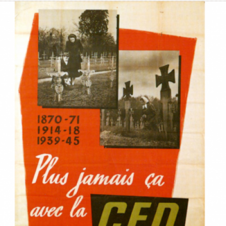 This French poster in favour of a European Defence Community is reproduced in one of the few Italian textbooks which mention the EDC. The vast majority of textbooks ignore it.
