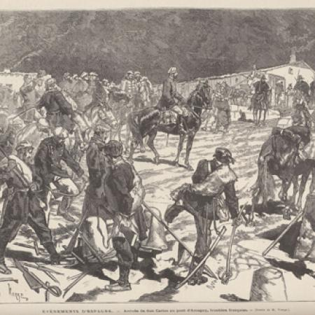 """Arrival of don Carlos at the bridge in Arnéguy, French border,"" Le Monde illustré, weekly newspaper, Paris, 1857-1940."