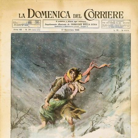 """The Tragedy of Secret Emigration,"" illustrated supplement for the Corriere della Sera, November 17, 1946."